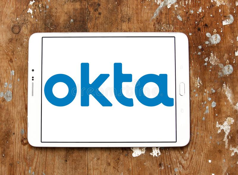 Okta company logo. Logo of Okta company on samsung tablet. Okta is a publicly traded identity management company. It provides cloud software that helps companies royalty free stock photos