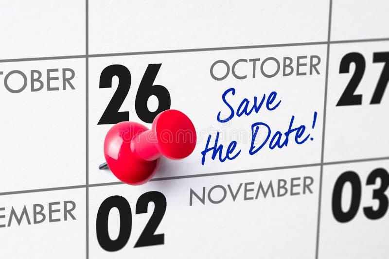 Oktober 26 fotografering för bildbyråer