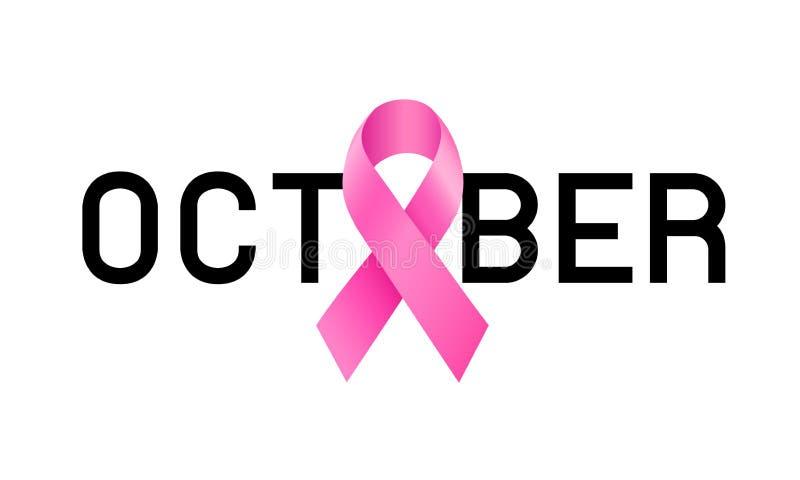 Oktober bokstäverdesign med det rosa bandet royaltyfri illustrationer