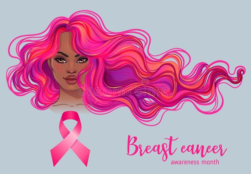 Oktober: Bröstcancermedvetenhetmånad, årlig aktion att öka medvetenhet av sjukdomen Afrikansk amerikankvinna med bröstet stock illustrationer