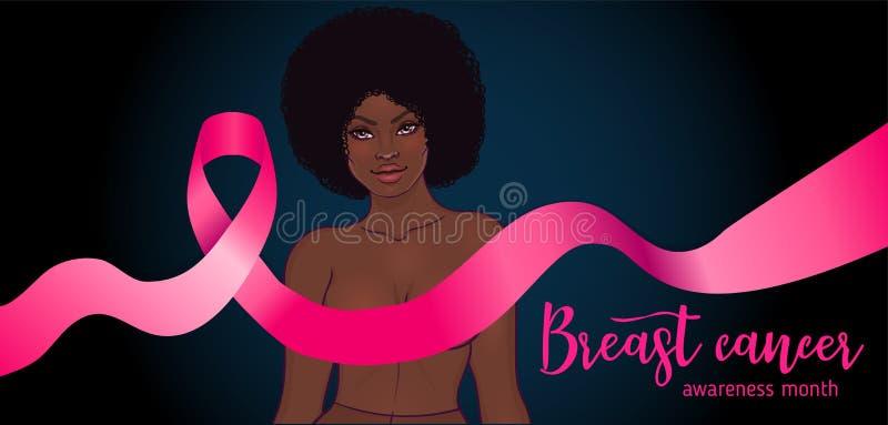 Oktober: Bröstcancermedvetenhetmånad, årlig aktion att öka medvetenhet av sjukdomen Afrikansk amerikankvinna med bröstet royaltyfri illustrationer
