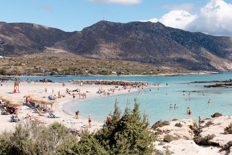 1 oktober, 2017, Elafonissi, het strand van Griekenland - Elafonissi- royalty-vrije stock afbeelding