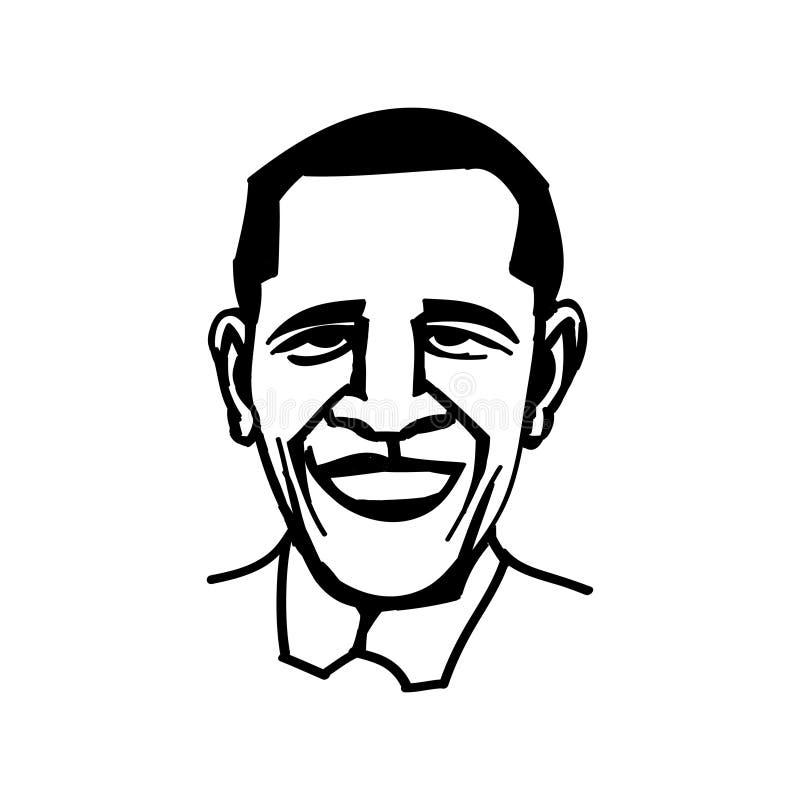 Oktober 1, 2014: En vektor, svartvit illustration av presidenten Obama royaltyfria foton