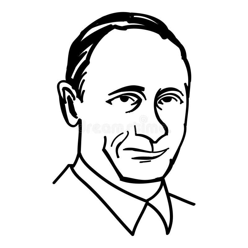 Oktober 1, 2014: En vektor, svartvit illustration av presidenten Putin royaltyfri foto