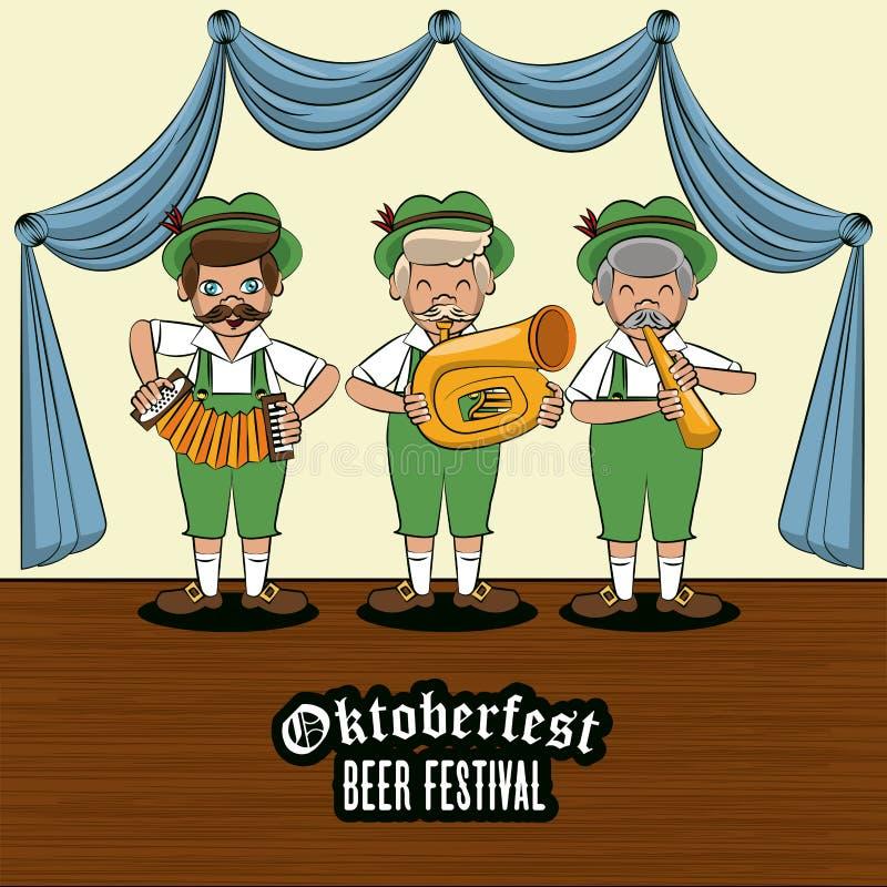 Oktober fest card. Oktober fest beer festival card with bavarian music band vector illustration graphic design vector illustration