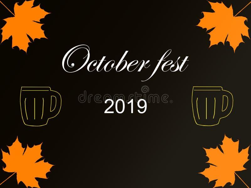 Oktober fest 2019 royaltyfri illustrationer