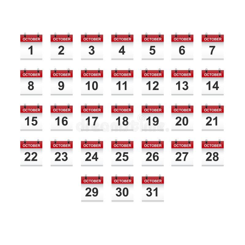 Oktober-het vectorart. van de kalender 1-31 illustratie stock afbeeldingen