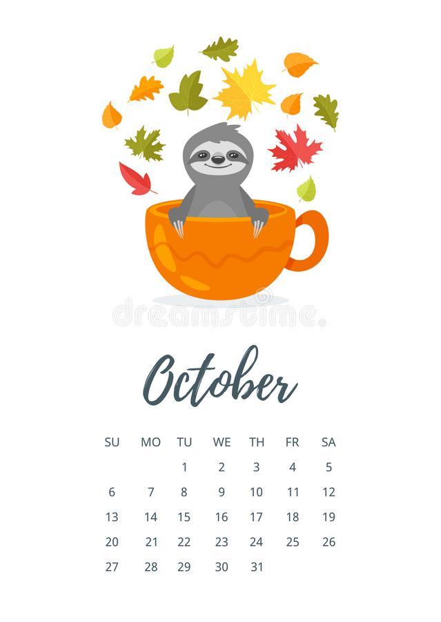 Oktober 2019 Jahrkalenderseite vektor abbildung