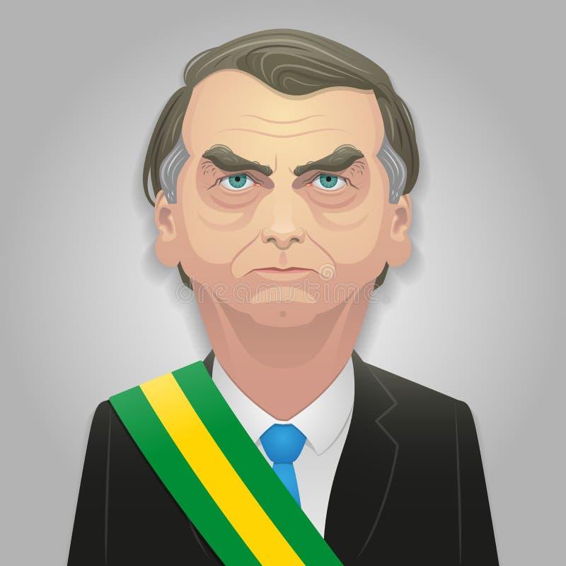 07 oktober, 2018 - Jair Bolsonaro-karikatuur, misschien de volgende president van Brazilië stock illustratie