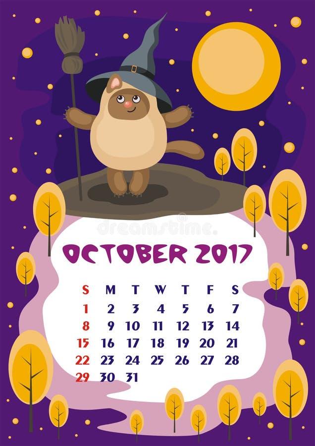 Oktober 2017 kalender vektor illustrationer