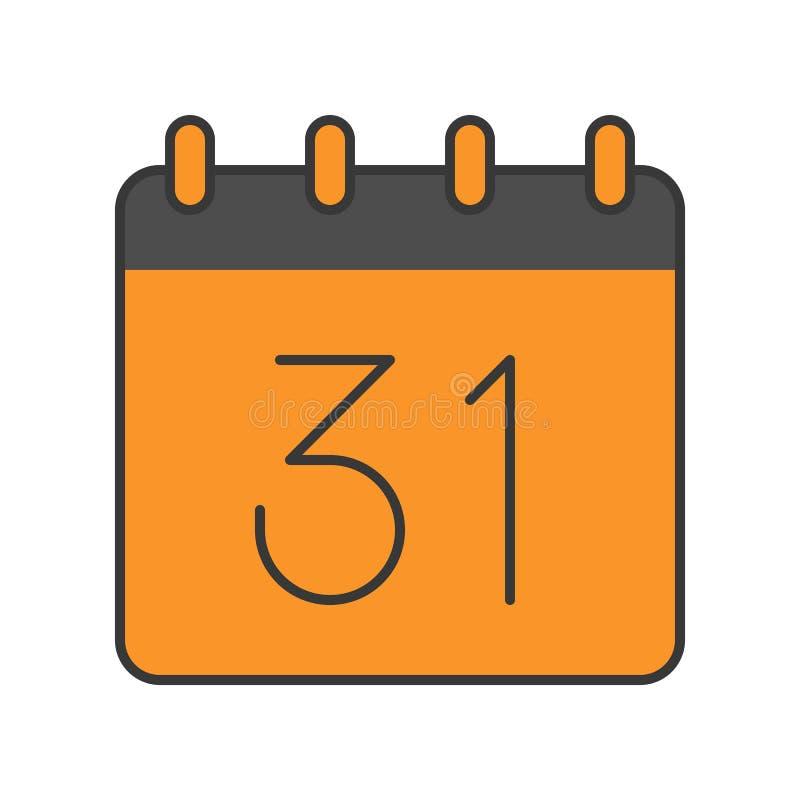 31 Oktober-kalender, Halloween verwant pictogram, gevulde overzichtsdesi stock illustratie