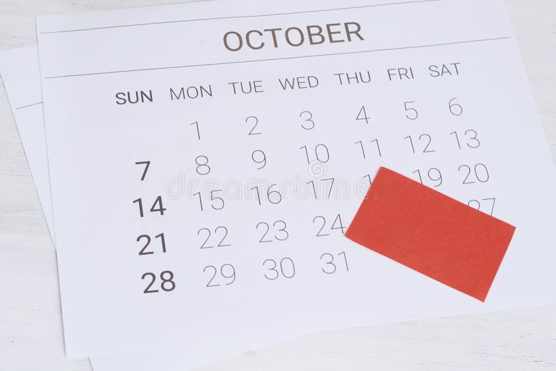 Oktober-Kalender mit leerer Anmerkung stockbild