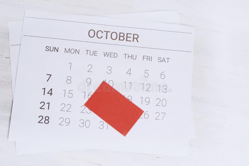 Oktober-Kalender mit leerer Anmerkung lizenzfreies stockbild