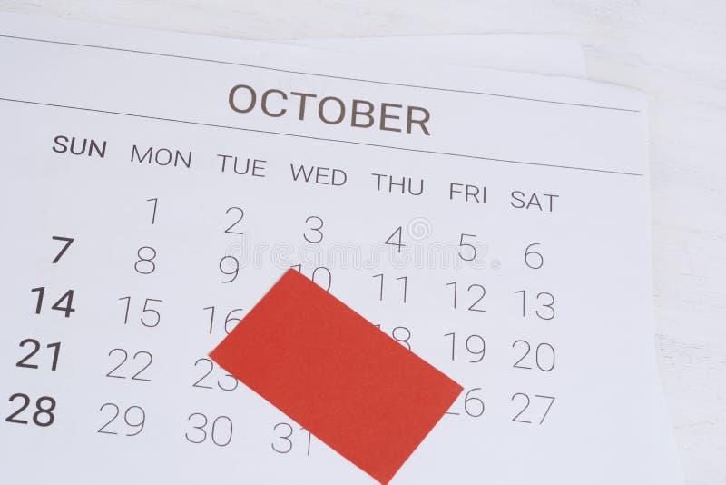 Oktober-Kalender mit leerer Anmerkung stockfotografie