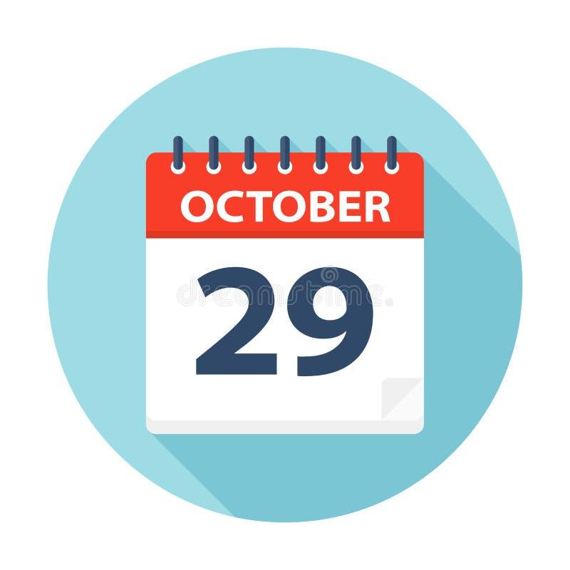 29 oktober - Kalenderpictogram royalty-vrije illustratie