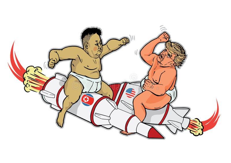 Oktober 31, 2107: Kim Jong Un och Donald Trump som tecknad film för stridighetlitet barnvektor royaltyfri illustrationer