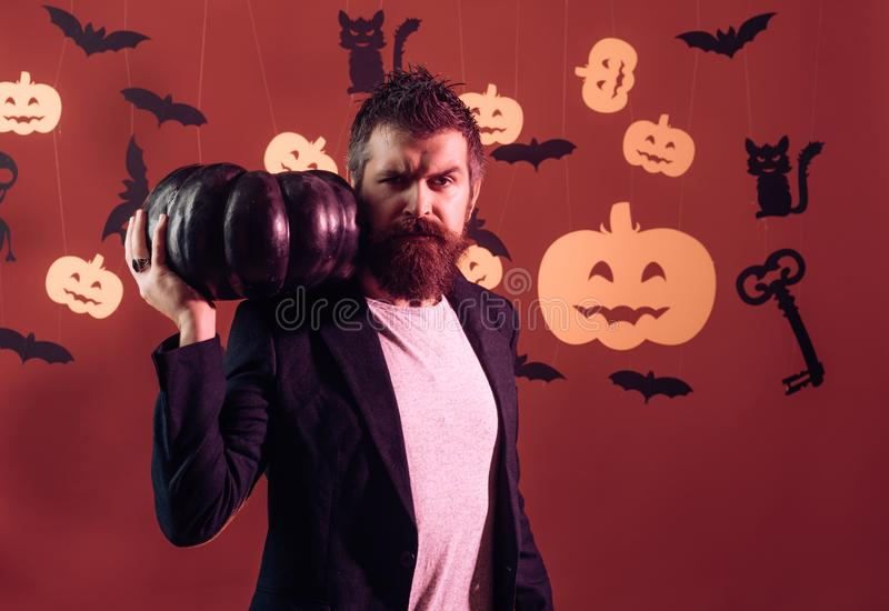 31 Oktober Maak omhooggaand en eng concept voor de mens Halloween, vakantieviering Magisch, betovering, hekserij royalty-vrije stock afbeeldingen