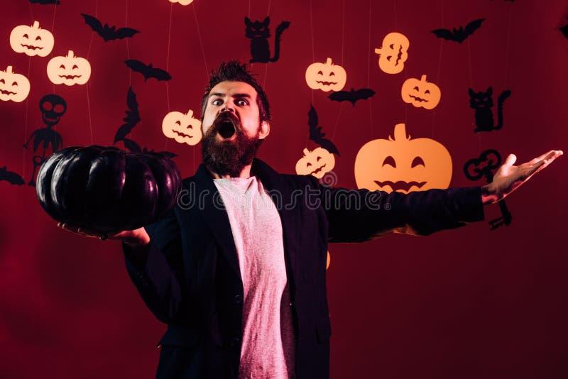 31 Oktober Maak omhooggaand en eng concept voor de mens Halloween, vakantieviering De partij van de viering Gelukkige hipster met royalty-vrije stock foto's
