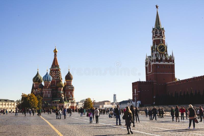 11 oktober, 2018 Moskou, de Kathedraal van het Basilicum van Heilige stock afbeelding