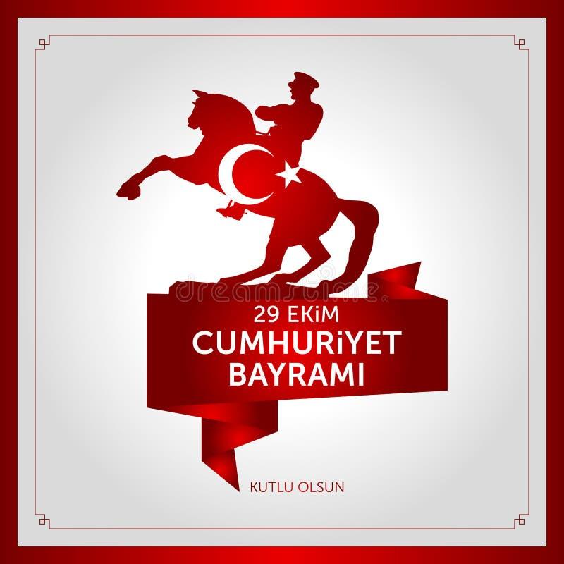 29. Oktober nationaler Tag der Republik von der Türkei stock abbildung