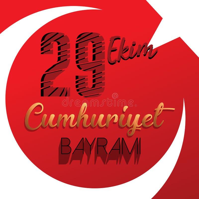 29. Oktober nationaler Tag der Republik von der Türkei, Feier-Grafikdesign Auch im corel abgehobenen Betrag stock abbildung