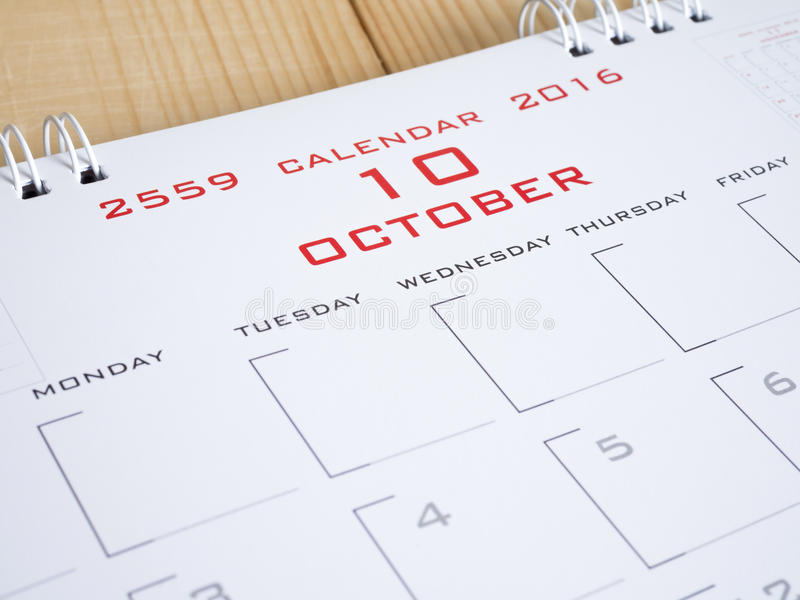 2016 Oktober op kalenderpagina 1 royalty-vrije stock afbeeldingen
