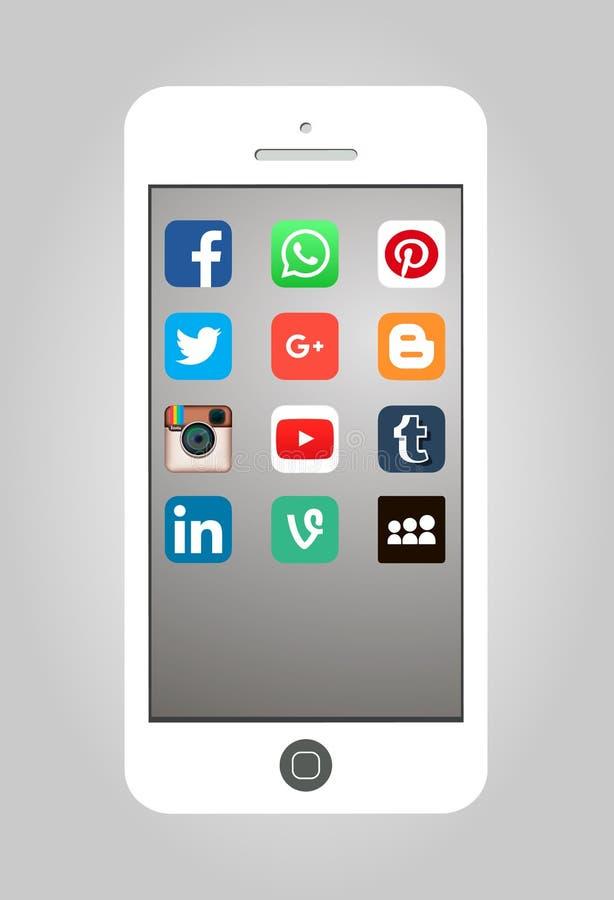 Oktober 26, 2015: Populärt socialt massmedia Apps för vektorillustration vektor illustrationer