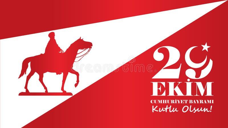 Oktober 29 republikdag royaltyfri illustrationer