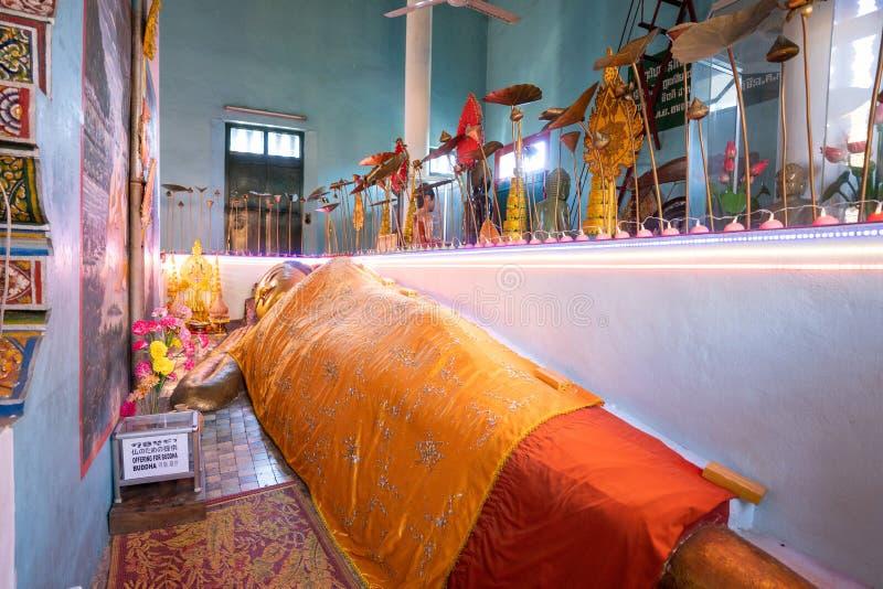 26 Oktober 2018-Siem oogst:: beeldhouwwerk in Wat Preah Prom Rath stock foto's