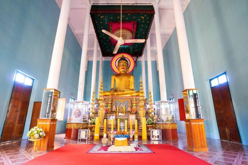 26 Oktober 2018-Siem oogst:: beeldhouwwerk in Wat Preah Prom Rath royalty-vrije stock foto