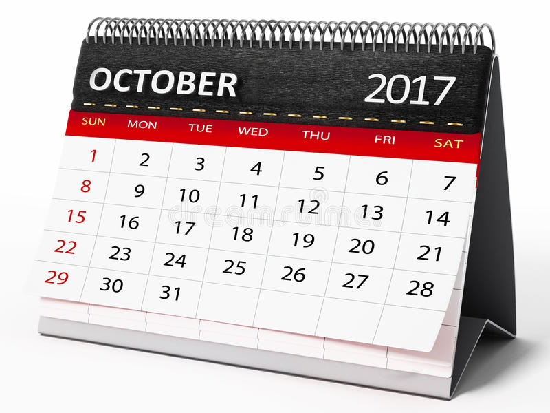 Oktober 2017 skrivbords- kalender illustration 3d royaltyfri illustrationer