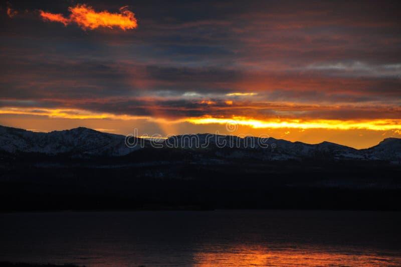 Oktober soluppgång på Yellowstone i Wyoming royaltyfri bild
