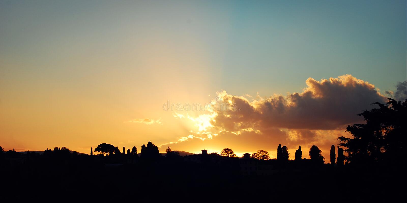 Oktober-Sonnenuntergang in Florenz - Weinleseeffekt Retro- Foto der szenischen Ansicht lizenzfreies stockfoto
