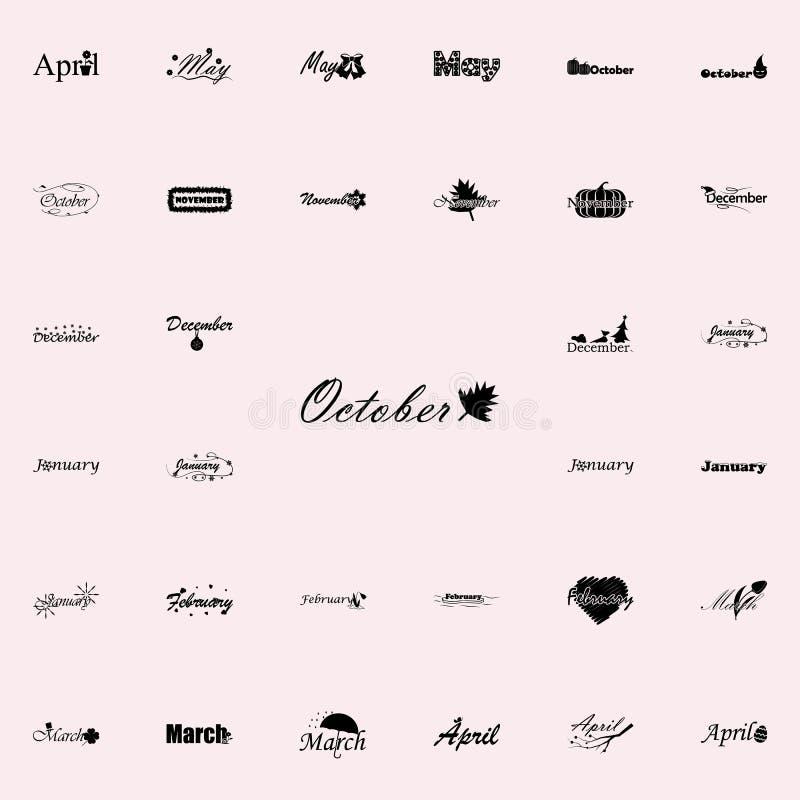 Oktober symbol Namn av den universella uppsättningen för månadsymboler för rengöringsduk och mobil stock illustrationer