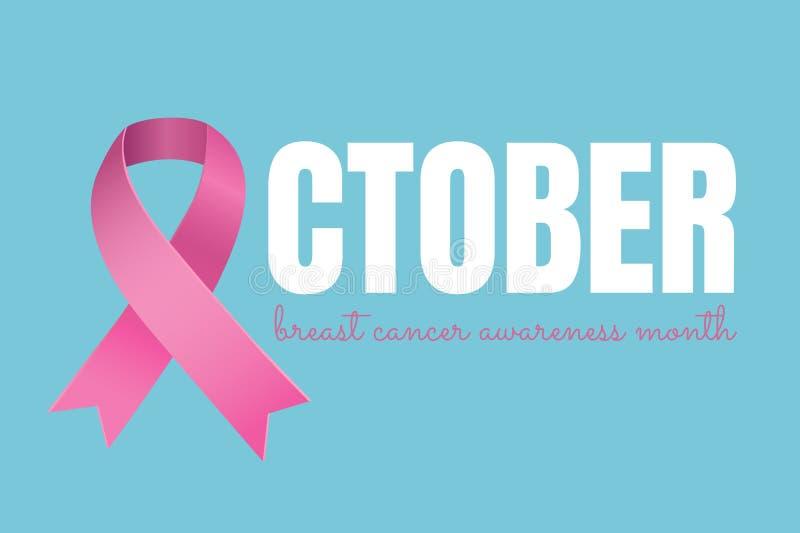 Oktober-Text mit rosa Band und Brustkrebs-Bewusstseinsmonatskonzept stock abbildung