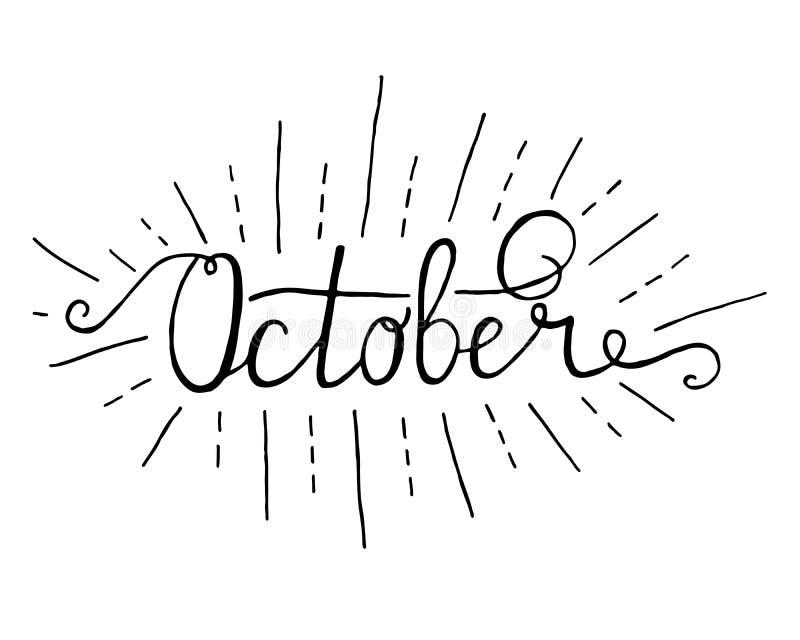 oktober Typografisk design Bokstävertext för svart hand som isoleras på vit bakgrund För inflyttnings- affischer hälsningkort stock illustrationer