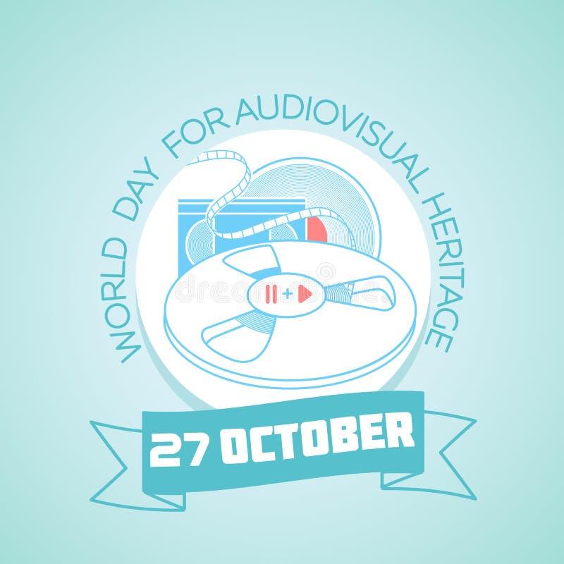 27 oktober-Werelddag voor Audiovisueel erfgoed stock illustratie