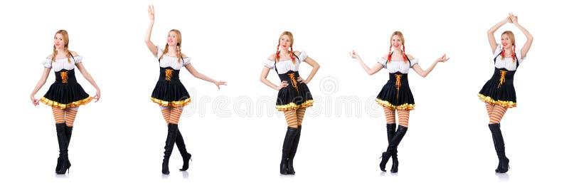 Oktoberfest концепция с женщиной на белизне стоковая фотография rf