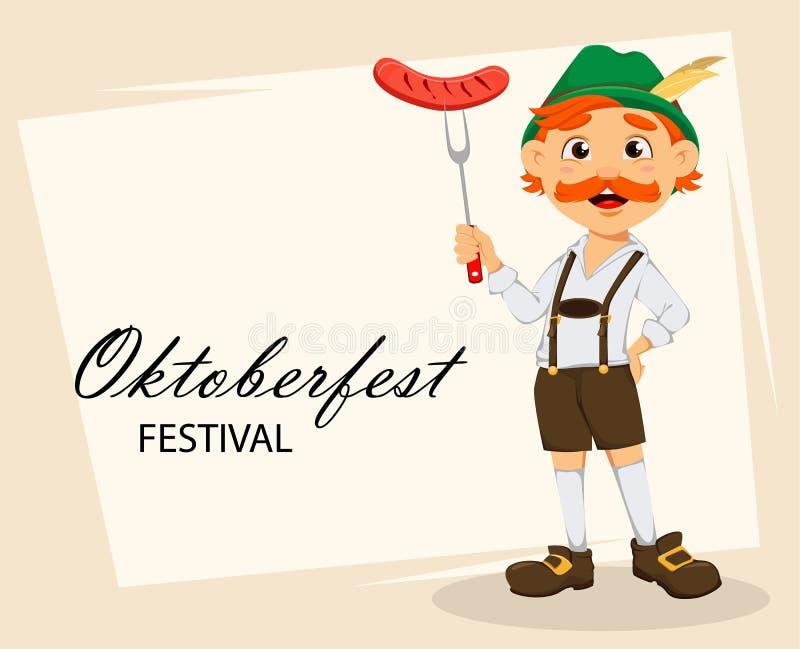 Oktoberfest, фестиваль пива Смешной человек redhead иллюстрация штока