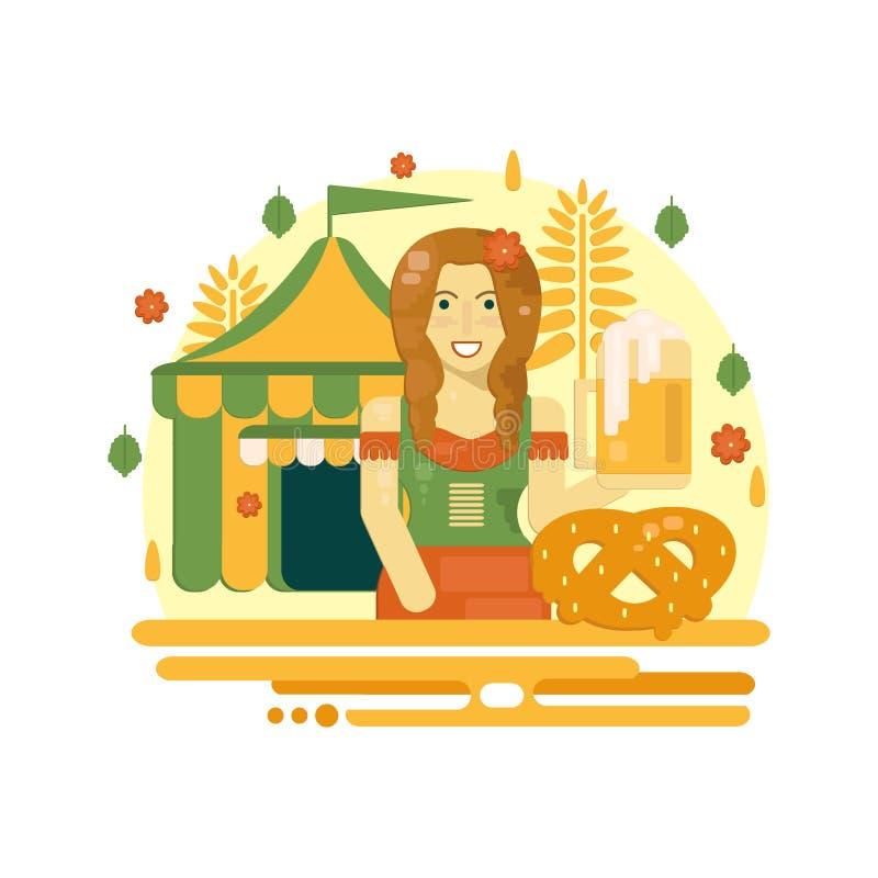 Oktoberfest affisch med öl, kringlan, tältet och servitrins royaltyfri illustrationer