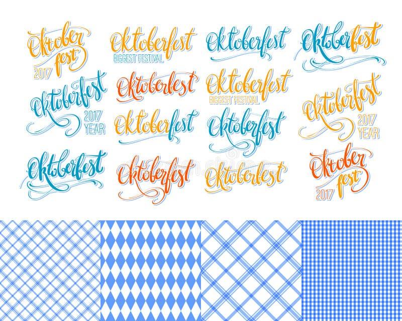 Oktoberfest-Aufkleber übergeben Beschriftung, die eingestellten Bürstenstift-Kalligraphieaufschriften Bunte Wort Oktoberfest-Samm lizenzfreie abbildung