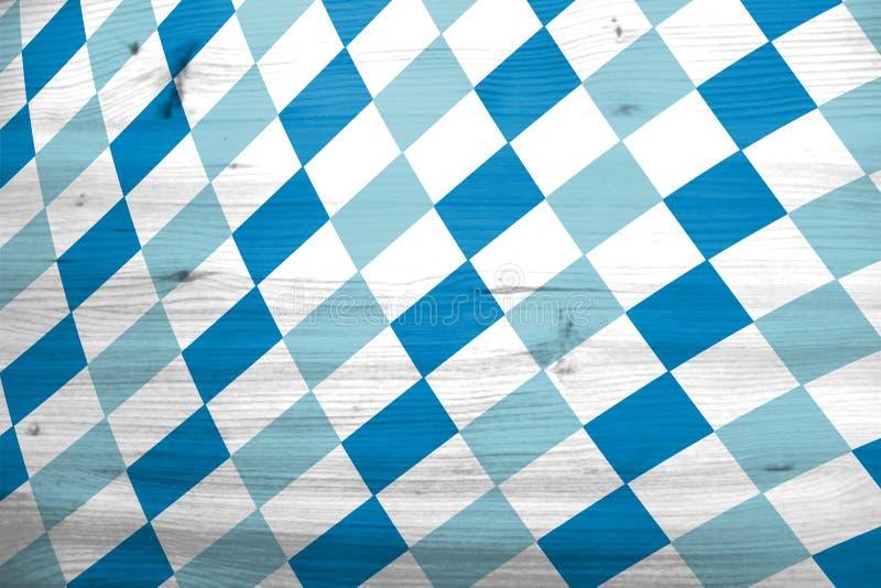 Oktoberfest background with bavarian flag pattern. Traditional rhombus pattern. stock photo