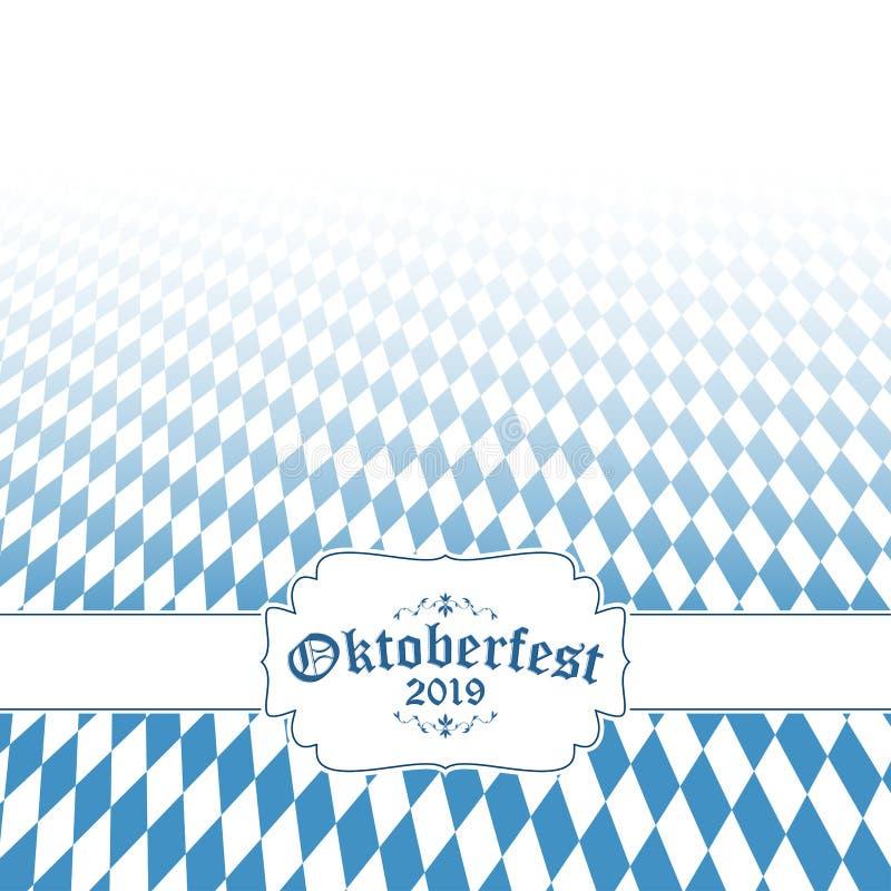 Oktoberfest bakgrund 2019 med den bl?vita rutiga modellen royaltyfri illustrationer