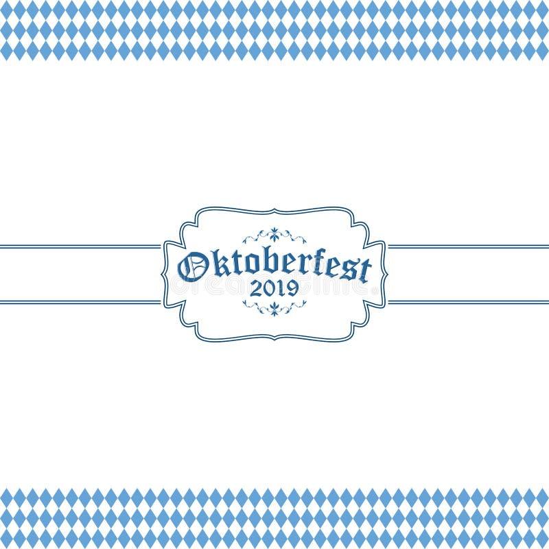 Oktoberfest bakgrund 2019 med den bl?vita rutiga modellen stock illustrationer