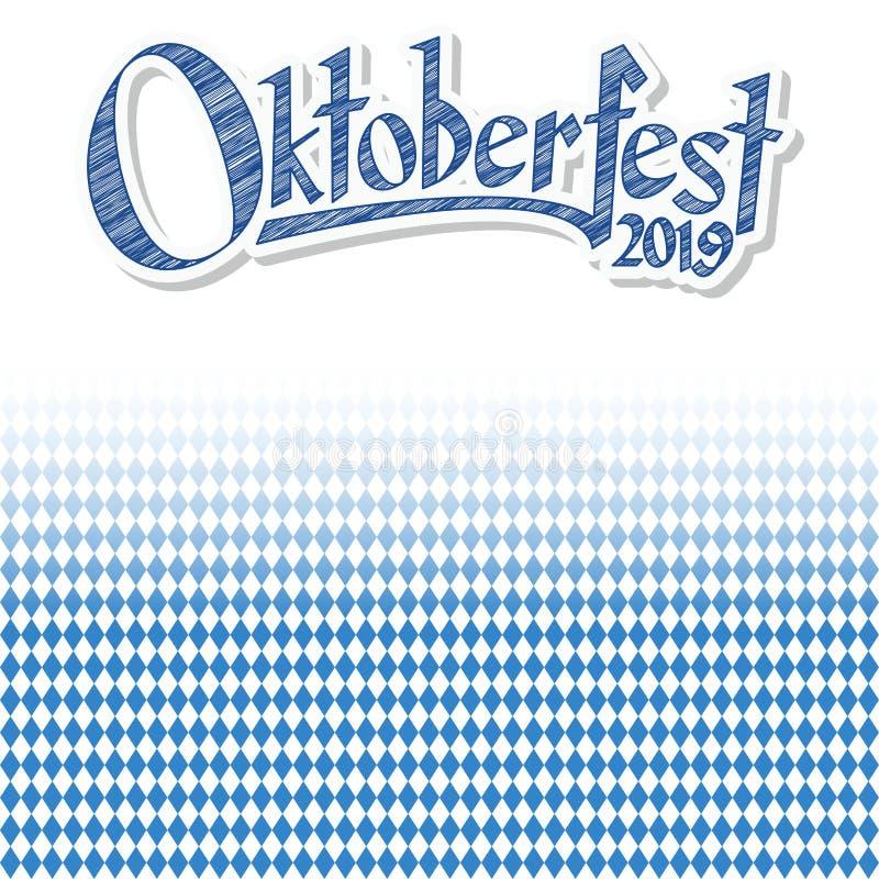 Oktoberfest bakgrund 2019 med den bl?vita rutiga modellen vektor illustrationer
