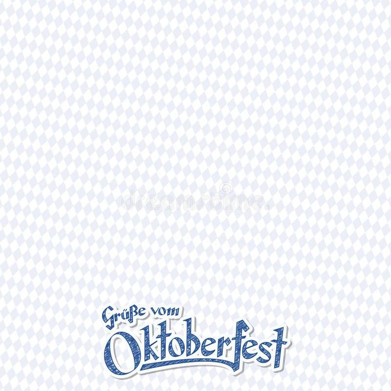 Oktoberfest bakgrund med hälsningstext royaltyfri illustrationer