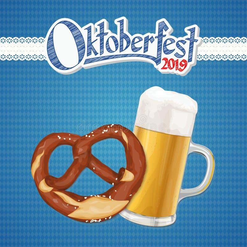 Oktoberfest bakgrund 2019 med kringlan och öl royaltyfri illustrationer