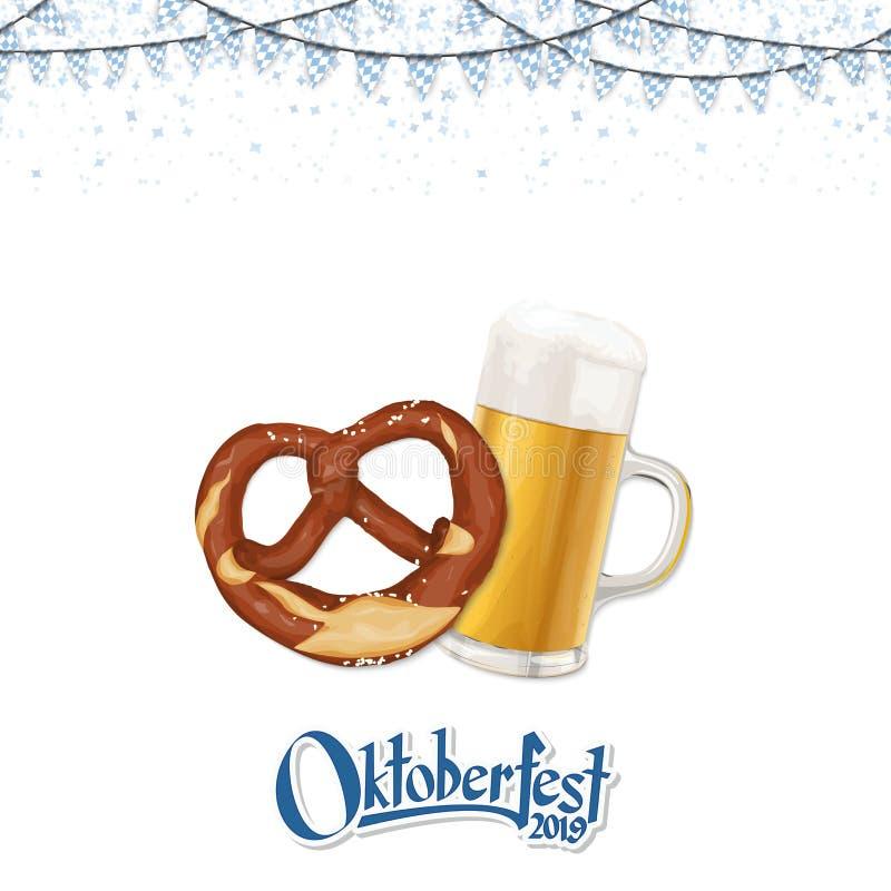 Oktoberfest bakgrund 2019 med kringlan och öl vektor illustrationer