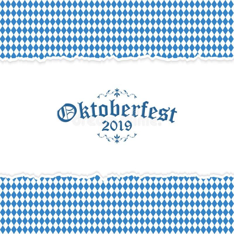 Oktoberfest bakgrund 2019 med rivit sönder papper stock illustrationer