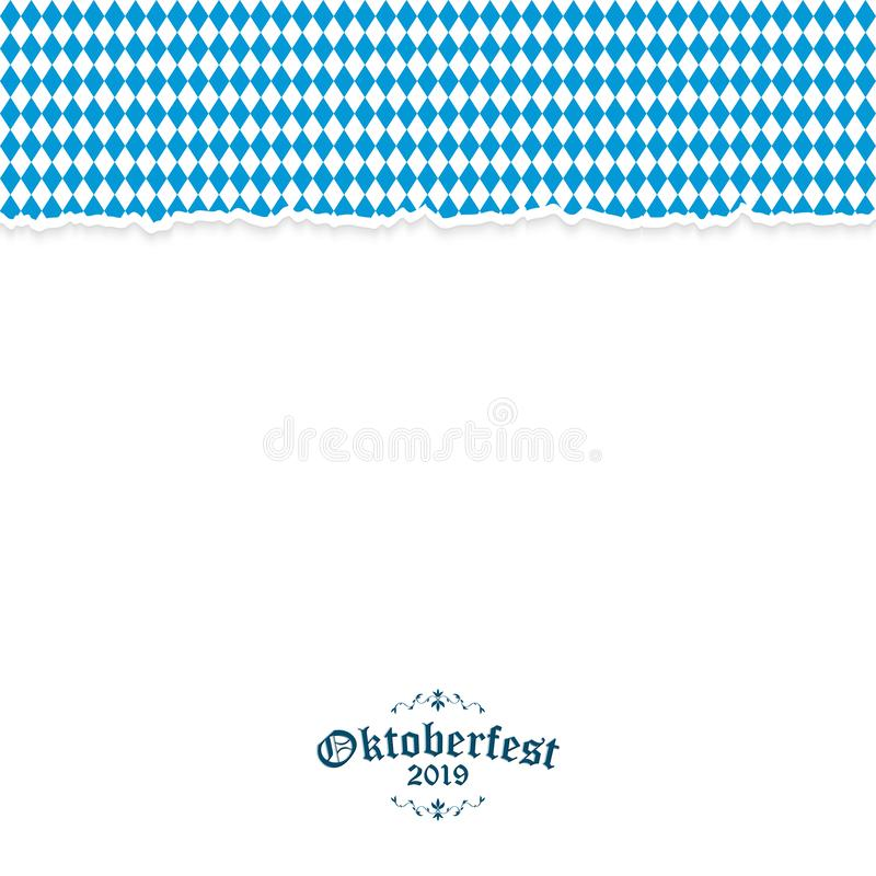 Oktoberfest bakgrund 2019 med rivit s?nder papper stock illustrationer
